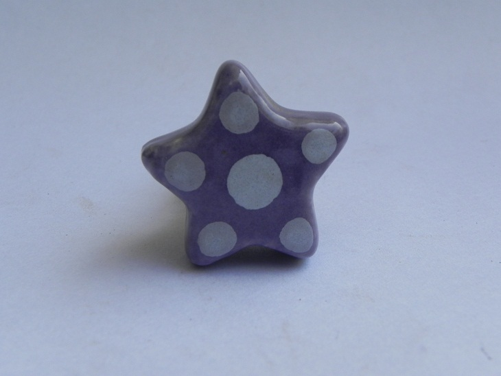 Purple Dotted Star Shape Knob