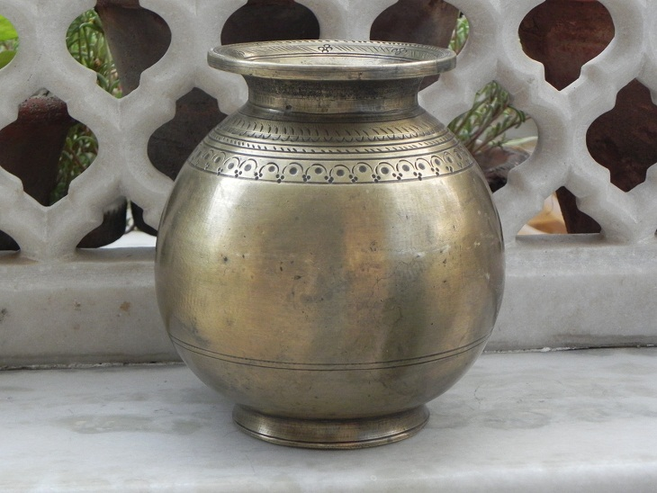 Bronze Cassa Hand Carved Rare Holy Water Pot