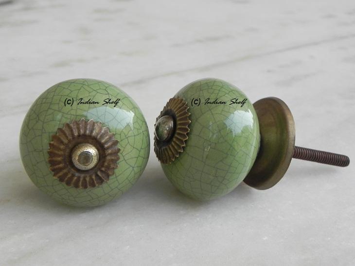 Green Black Crackle Cabinet Knob