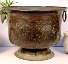 Handmade Bronze Urn Planter With Ring Handles