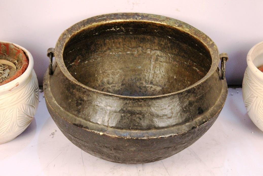 Huge Hammered Brass Garden Planter/ Handled Pot