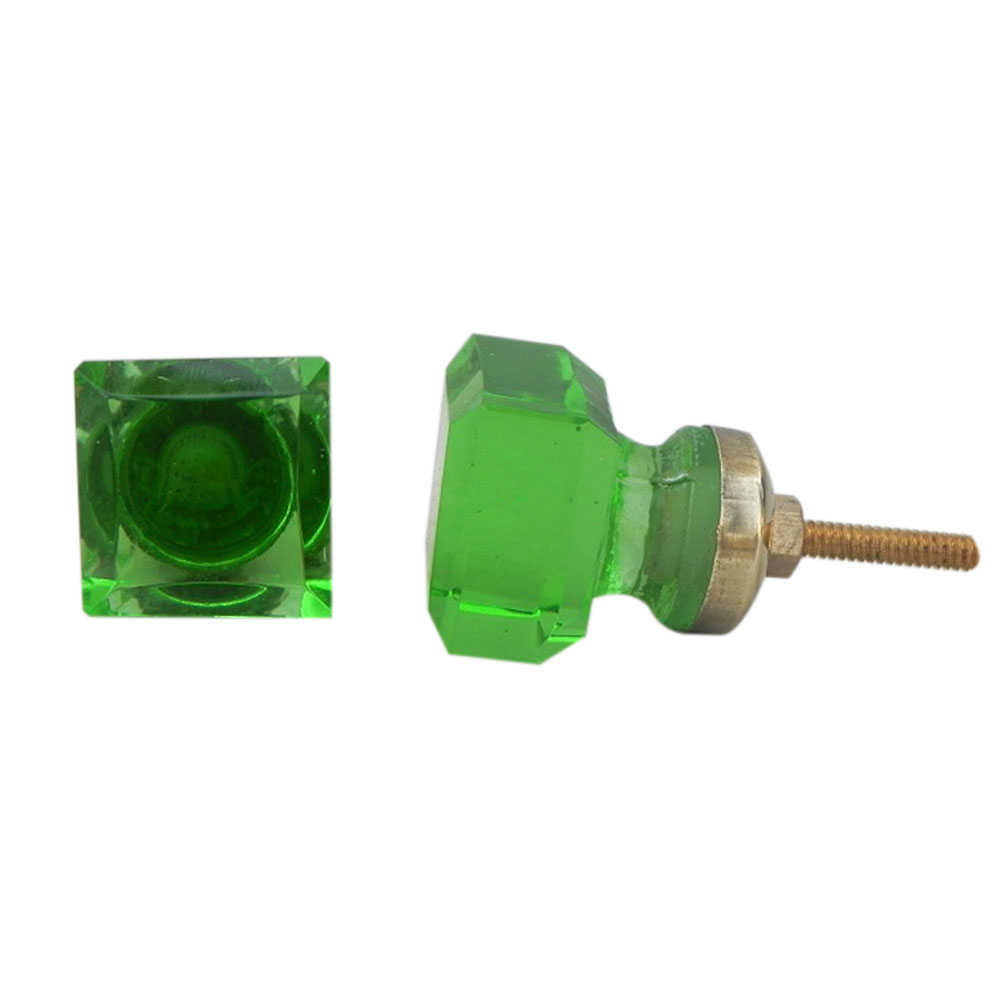 Green Square Small Glass Knobs