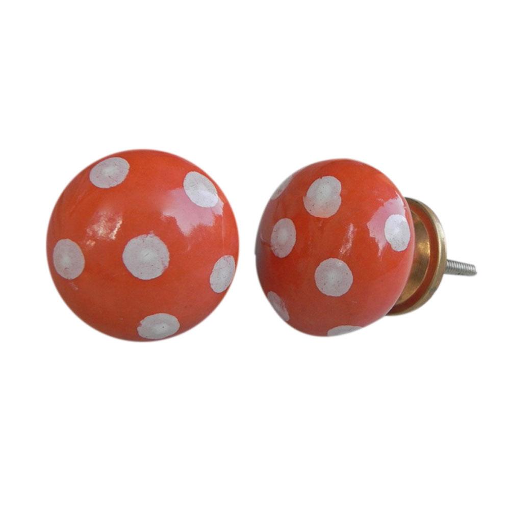 Orange White Polka Dots Flat Knob