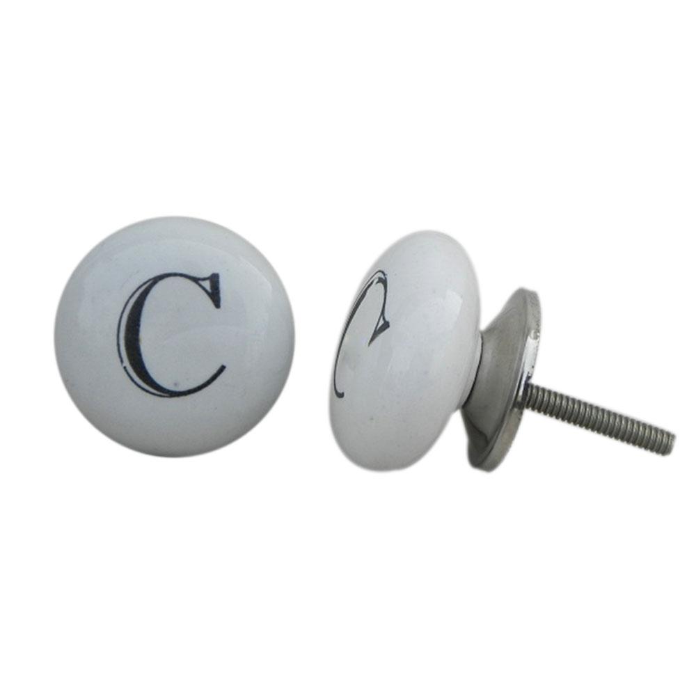 C Flat Alphabet Ceramic Cupboard Knob