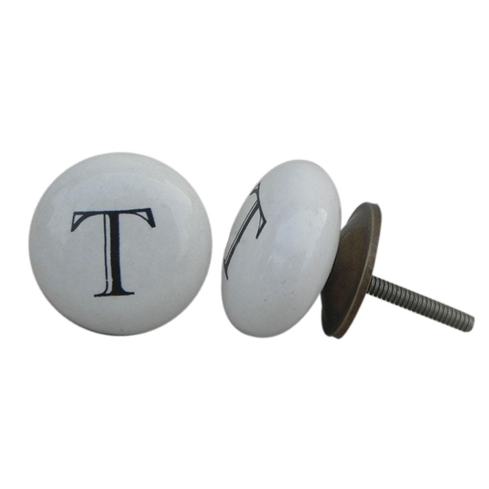 T Alphabet Ceramic Cupboard Knob
