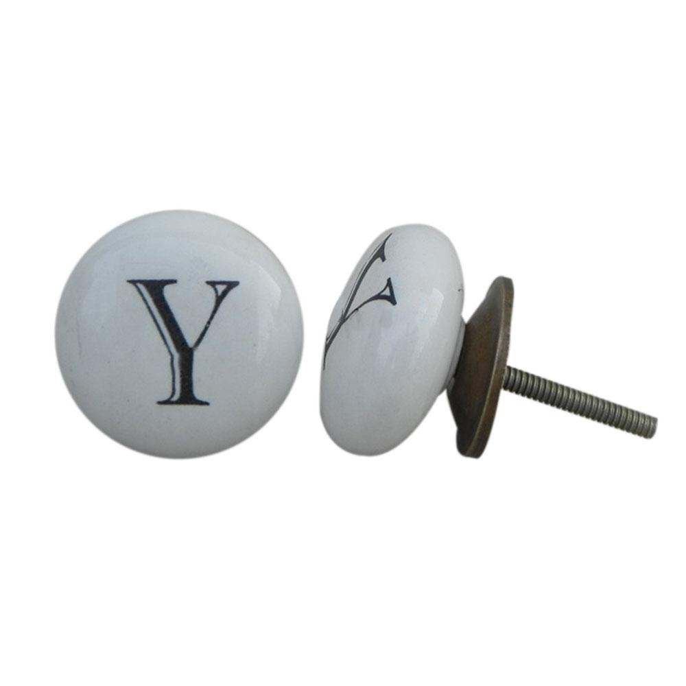 Y Alphabet Ceramic Dresser Drawer Knob