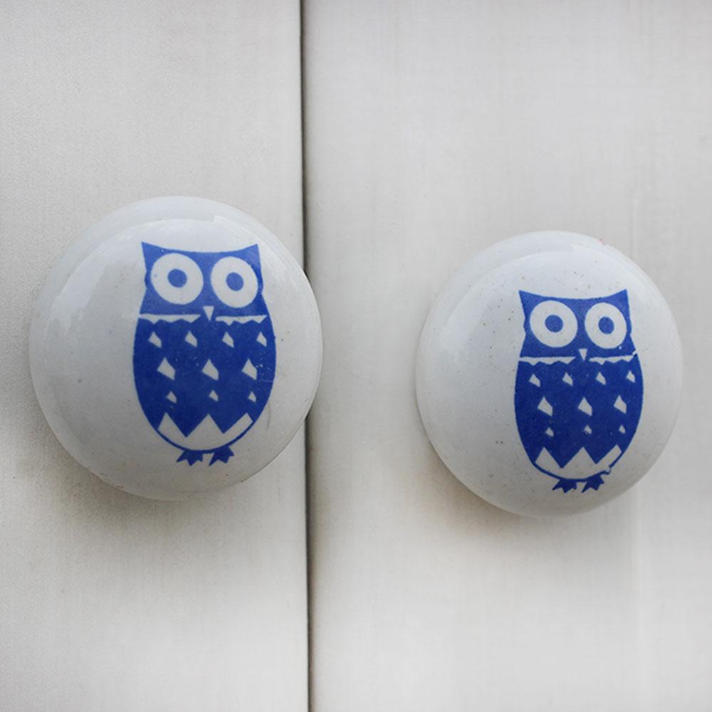 Blue Owl Flat Kids Ceramic Knob