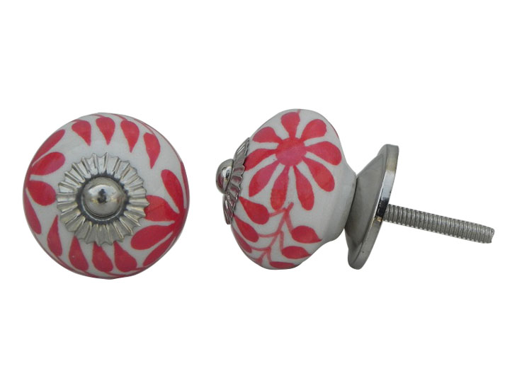 Red Leaf Floral Ceramic Knob