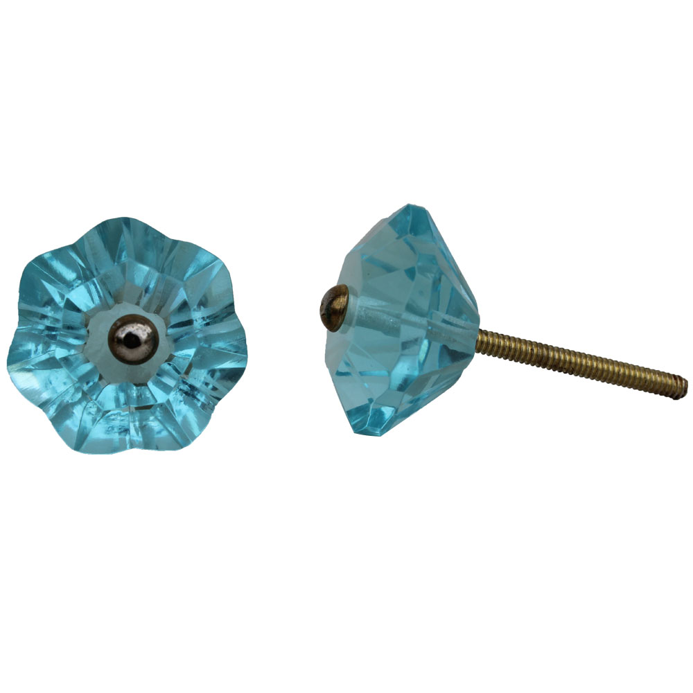 Light Blue Floral Knob