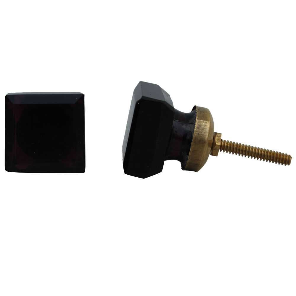 Dark Red Square Glass Cabinet Knobs Small
