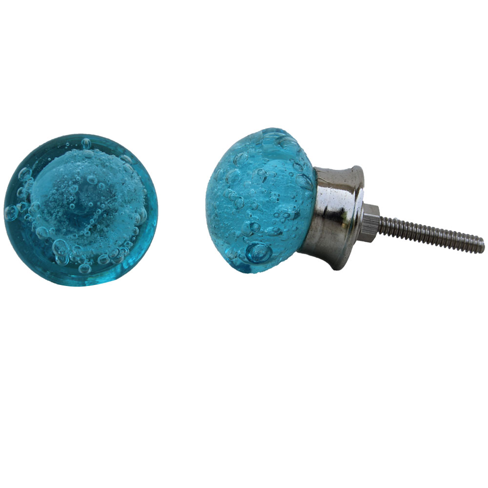 Turquoise Bubble Glass Drawer Knobs
