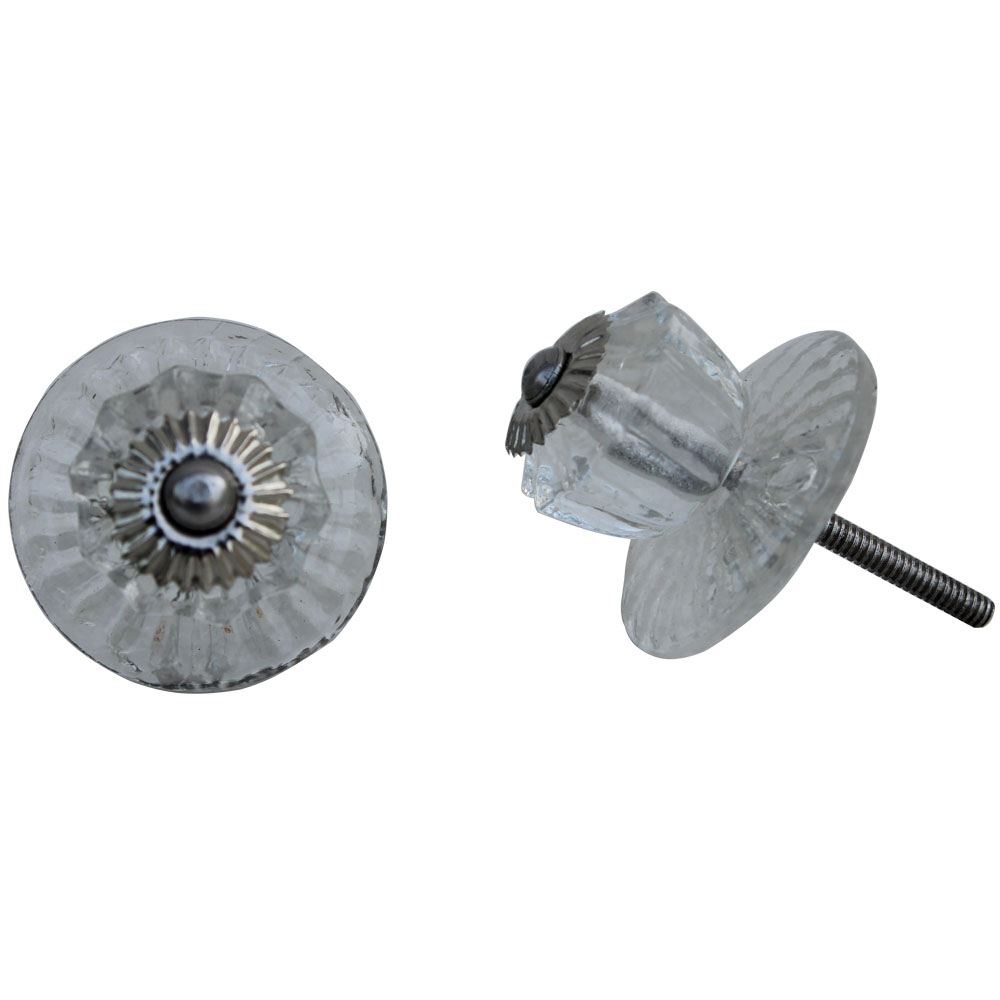 Clear Whirligig Glass Drawer Knobs