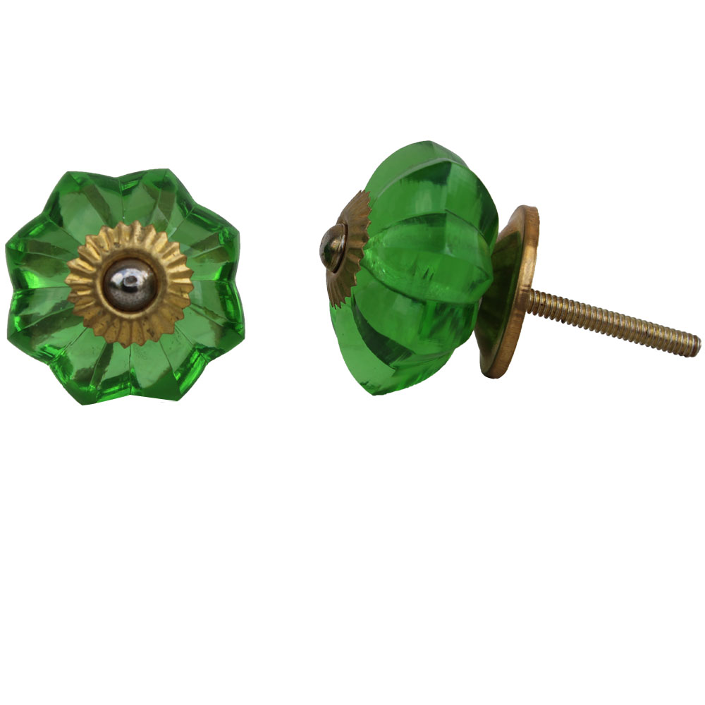 Green Glass Knob, Small