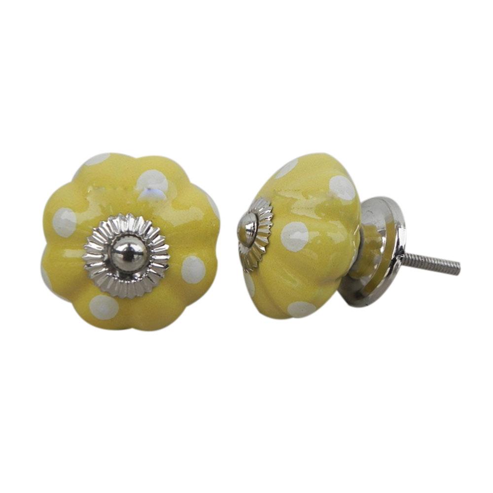 Yellow White Polka Melon Ceramic Knob