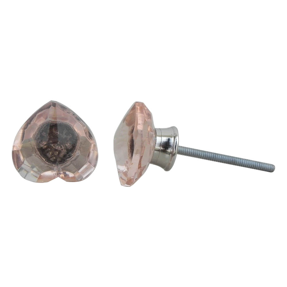 Pink Heart Glass Cabinet Knobs