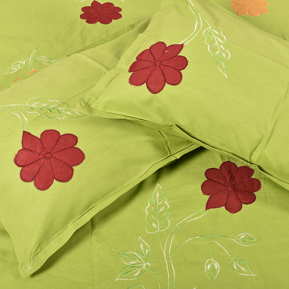 Handmade bed sheets design - Green Handmade Bed Sheet Linen With Red Orange Floral Design Beautiful Decorative Stylish