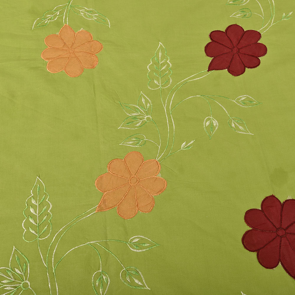 Green bed sheets texture - Green Handmade Bed Sheet Linen With Red Orange Floral Design Beautiful Decorative Stylish
