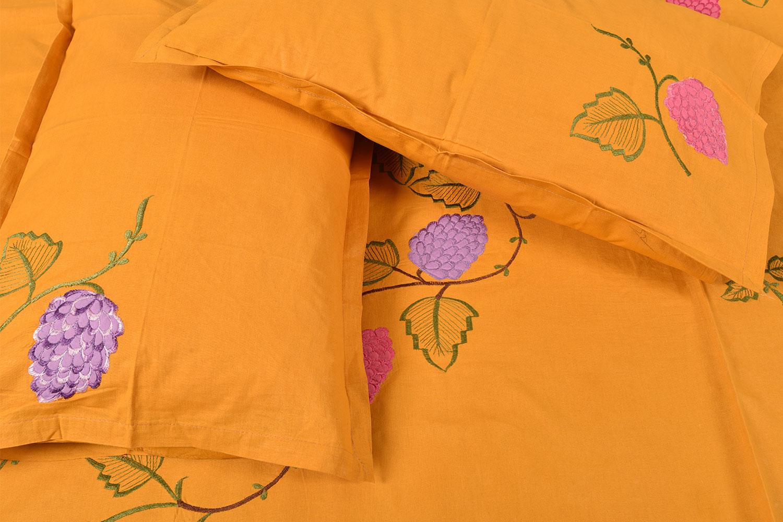 Handmade bed sheets design - Orange Handmade Bed Sheet Linen With Pink Purple Floral Design Beautiful Decorative Stylish
