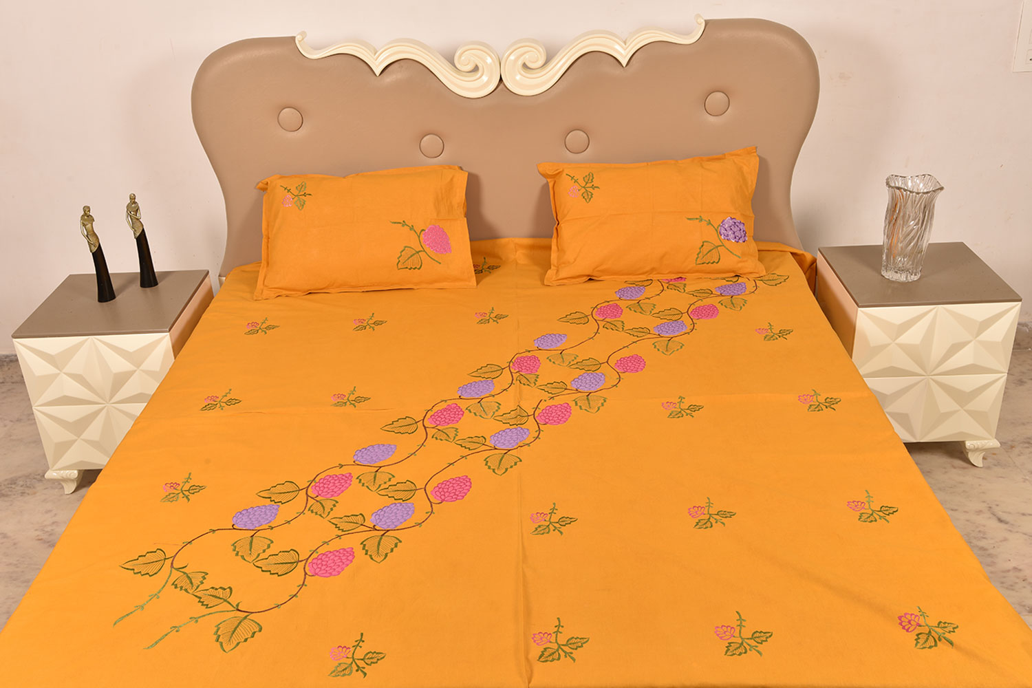 Handmade bed sheets design - Orange Handmade Bed Sheet Linen With Pink Purple Floral Design Beautiful Decorative Stylish