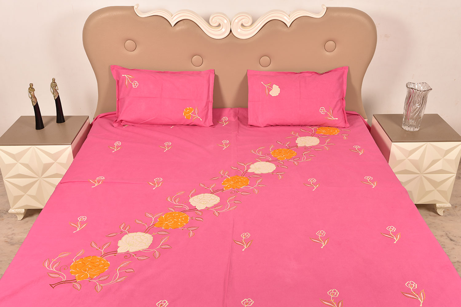 Handmade bed sheets design - Pink Handmade Bed Sheet Linen With Yellow White Floral Design Beautiful Decorative Stylish