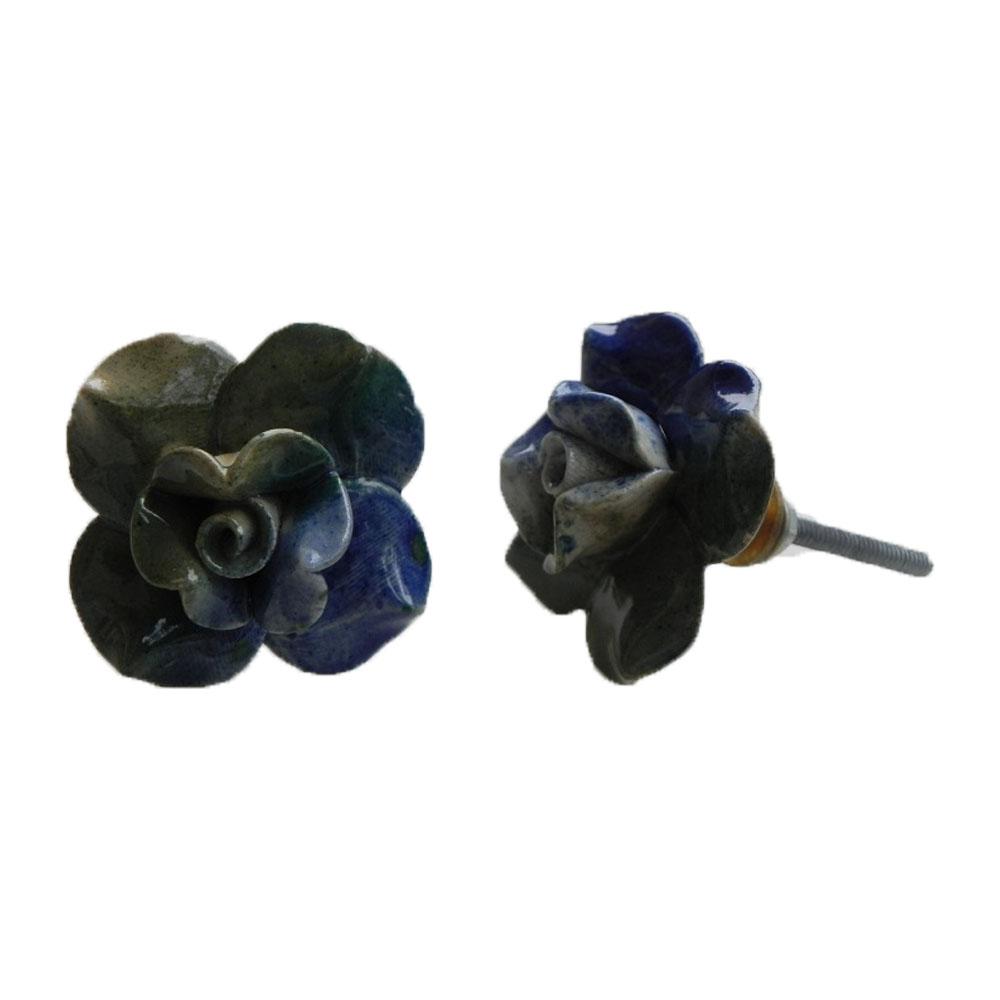 Blue Green Rose Knob