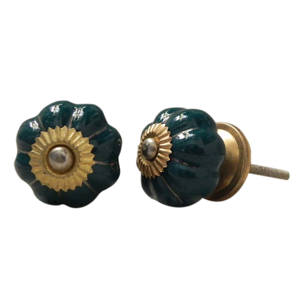 Dark Green Golden Knob