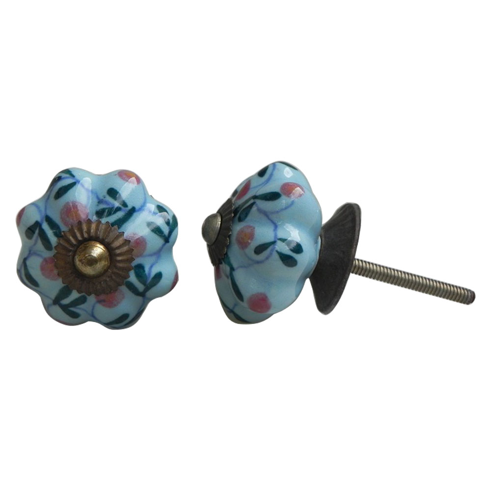 Blue Floral Knob