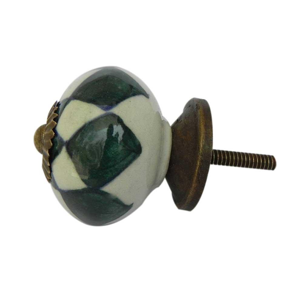 Dark Green Check Ceramic Cabinet Knob Online