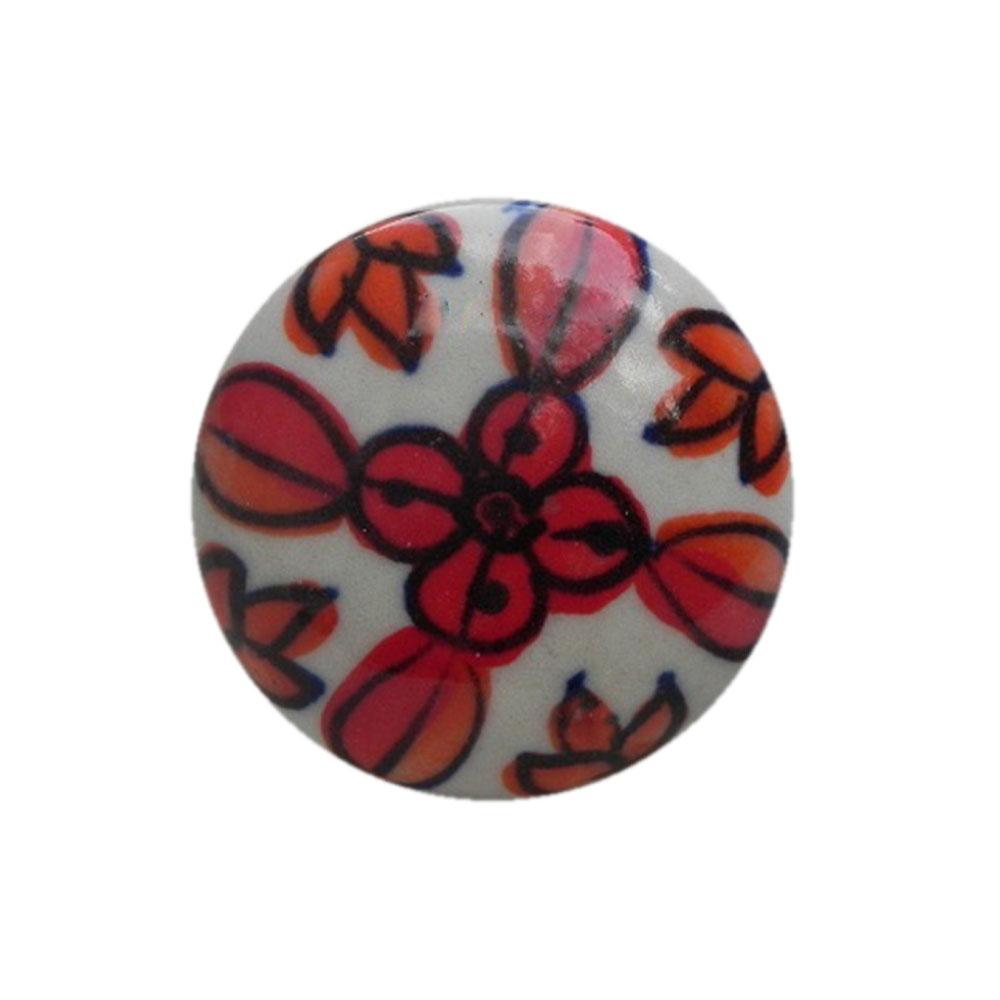 Red Flower Flat Knob