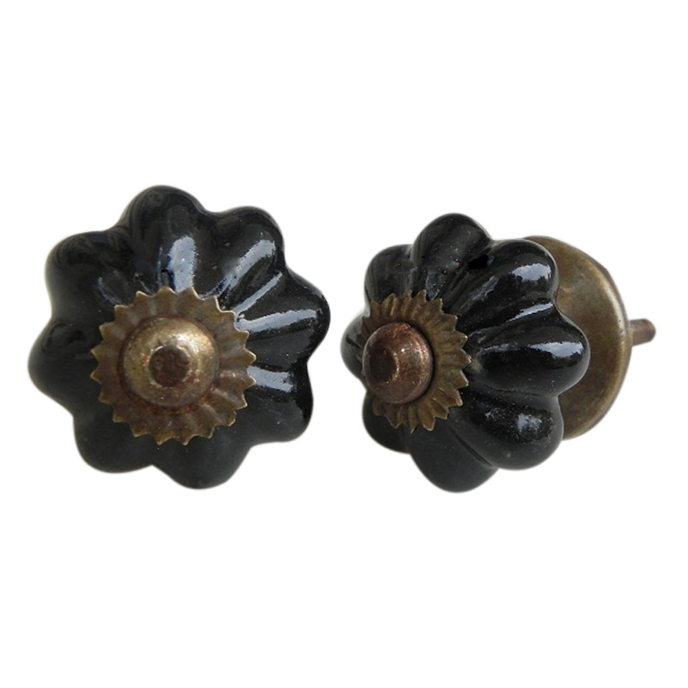 Black Ceramic Knob Small