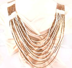 White Glow Layered Necklace New Beautiful Jewellery