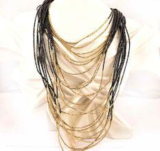Golden Black Layered Necklace New Beautiful Jewellery