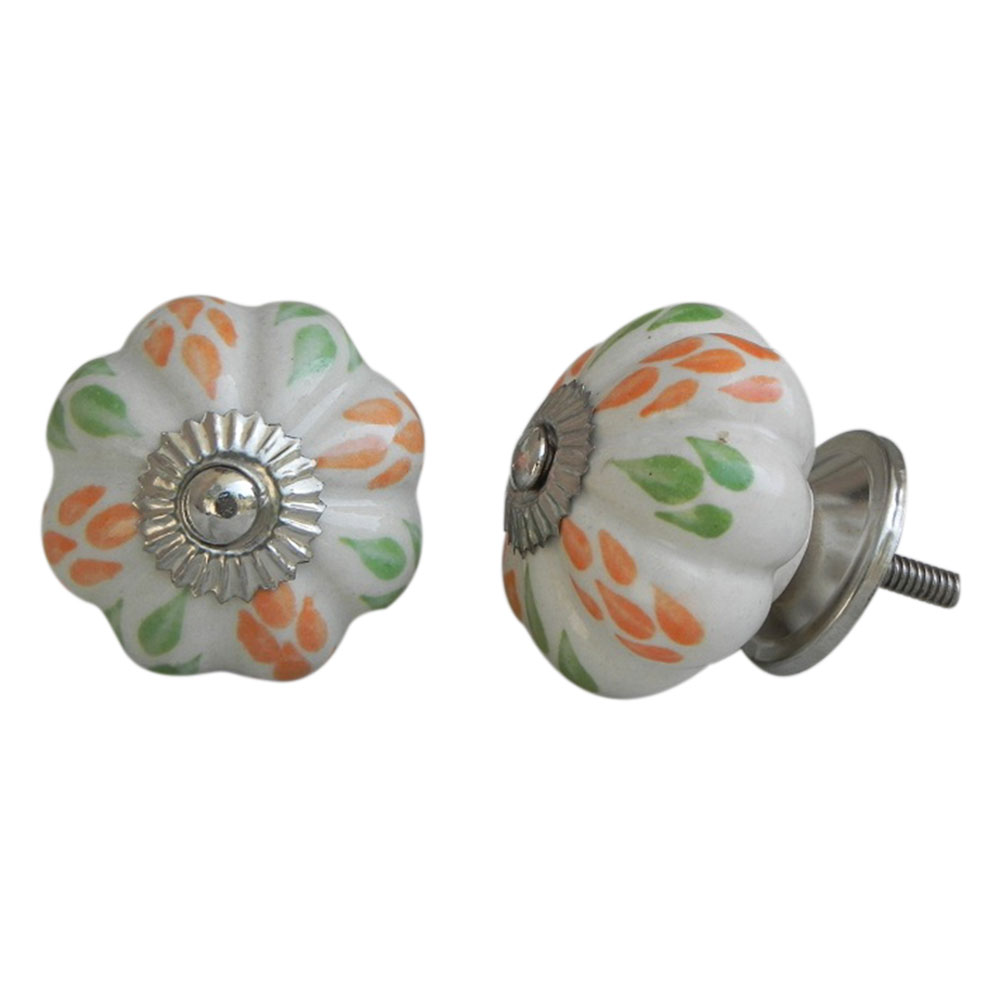 Mixed Leaf Ceramic Knob
