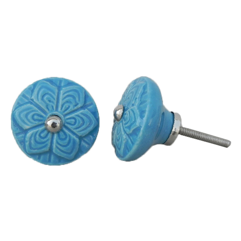 Blue Wheel Flower Knob