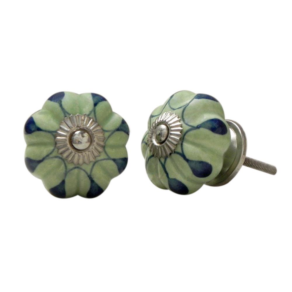 Green Drop Ceramic Knob