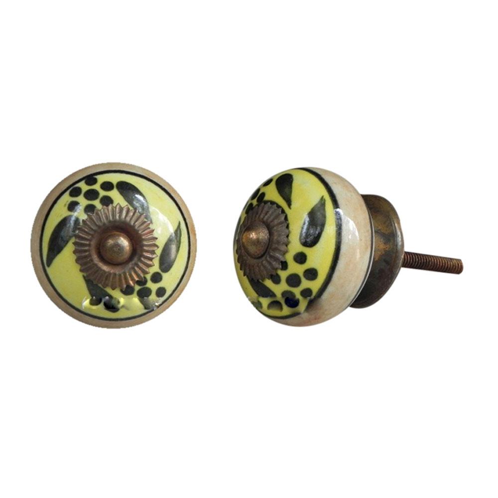 Black Leaf Ceramic Cabinet Knob Online