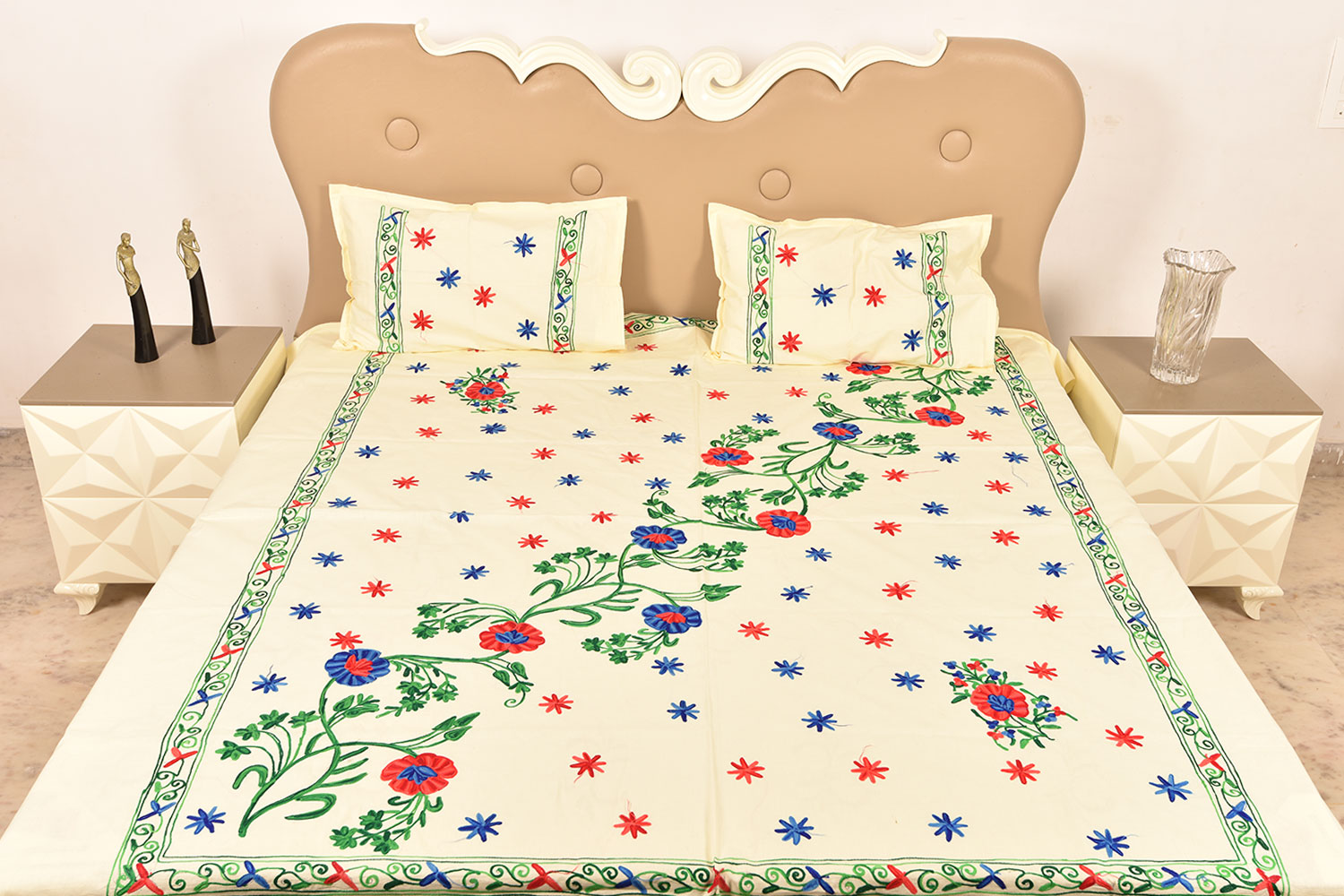 Handmade bed sheets design - Cream Handmade Double Bed Sheet Linen With Multicolor Floral Design Beautiful Decorative Stylish