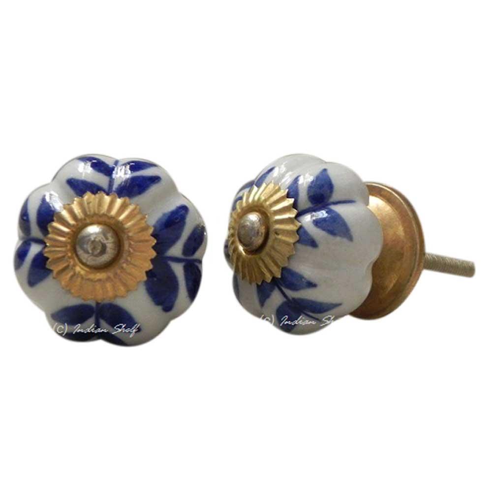 Blue Leaf Medium Knob
