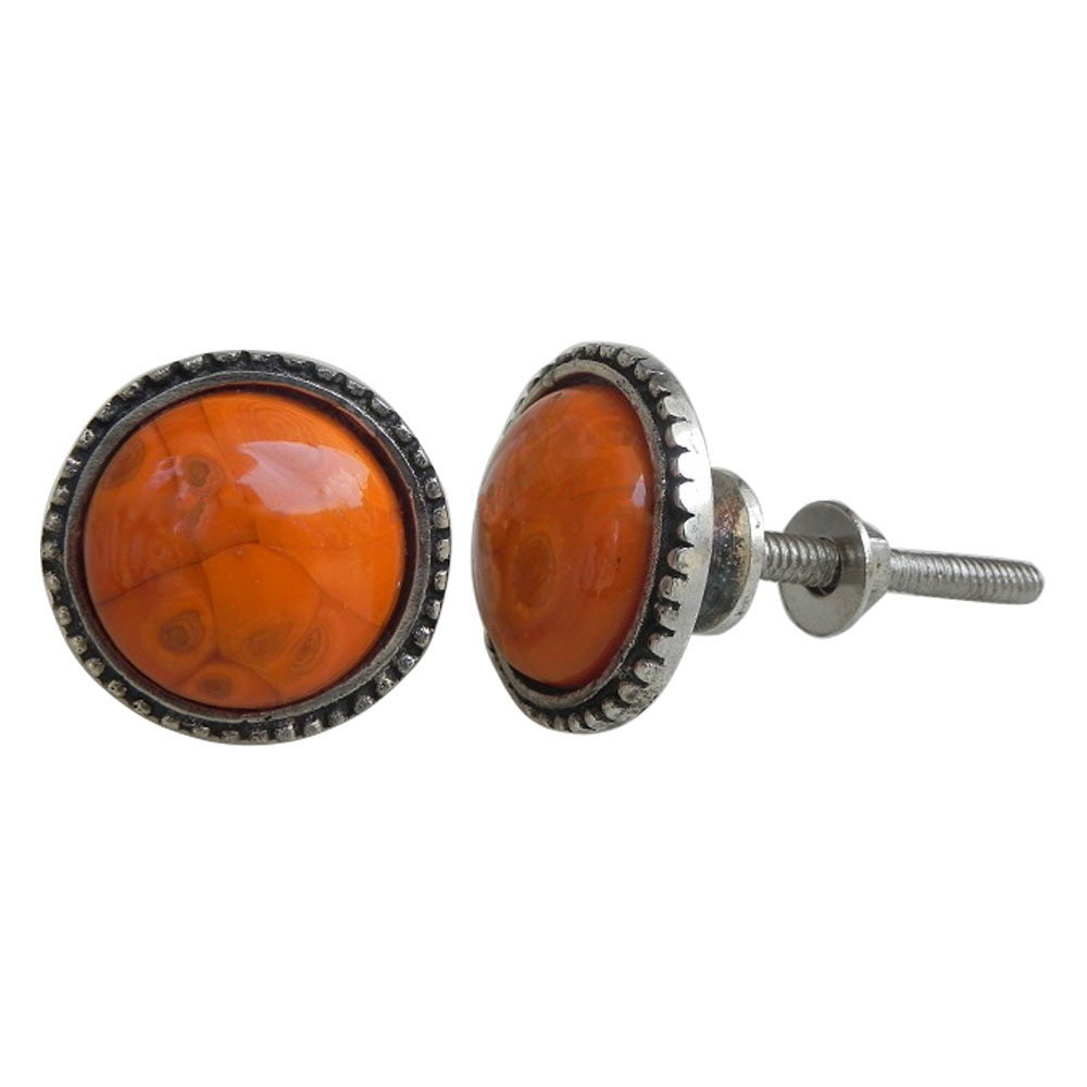 Orange Glass Metal Knobs