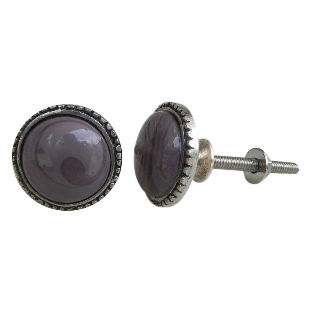 Purple Glass Metal Knobs
