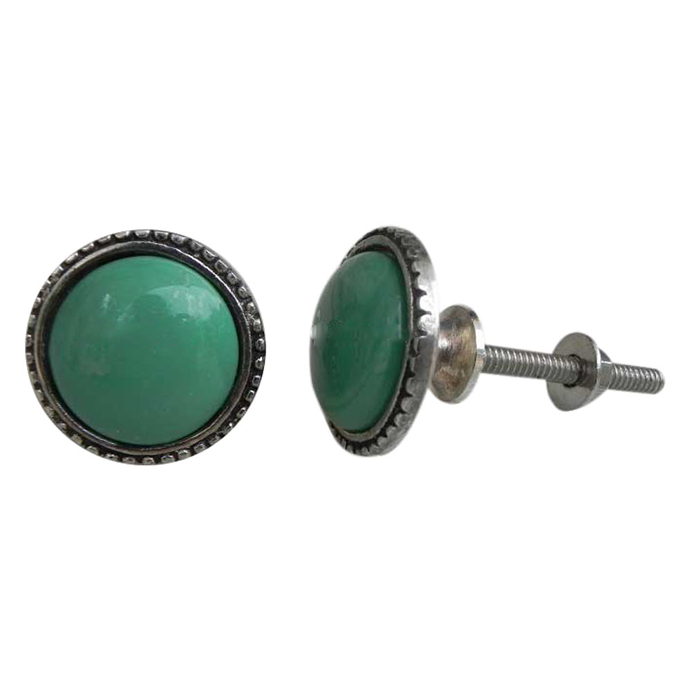 Green Glass Metal Knobs