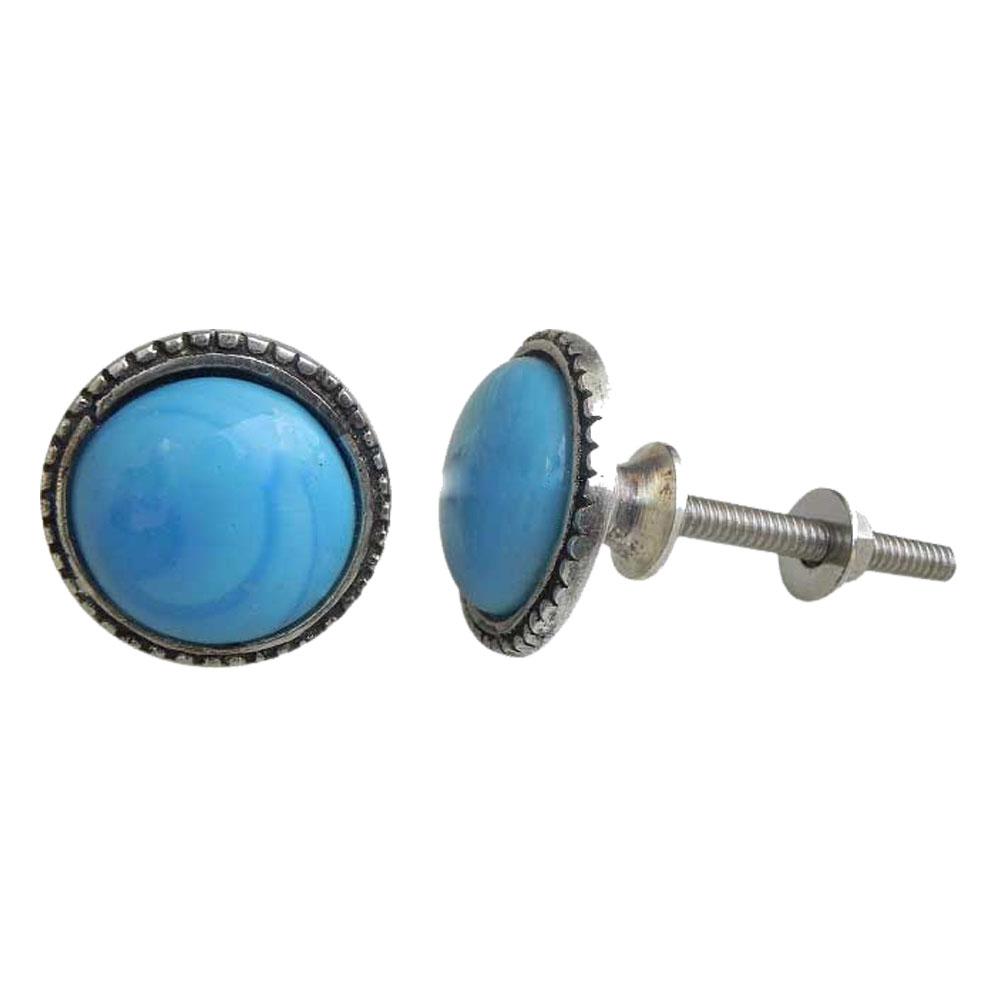 Sky Blue Glass Metal Knobs