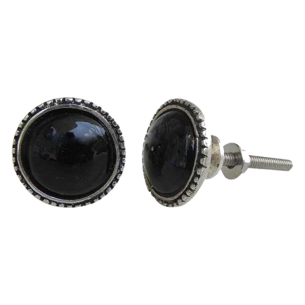 Black Glass Metal Knobs