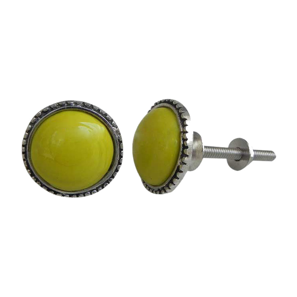 Yellow Glass Metal Knobs