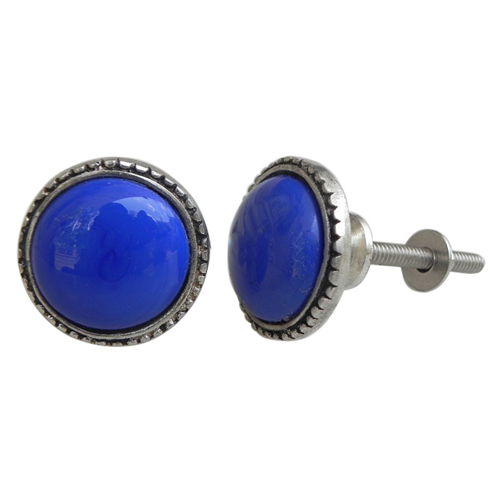 Blue Glass Metal Knobs