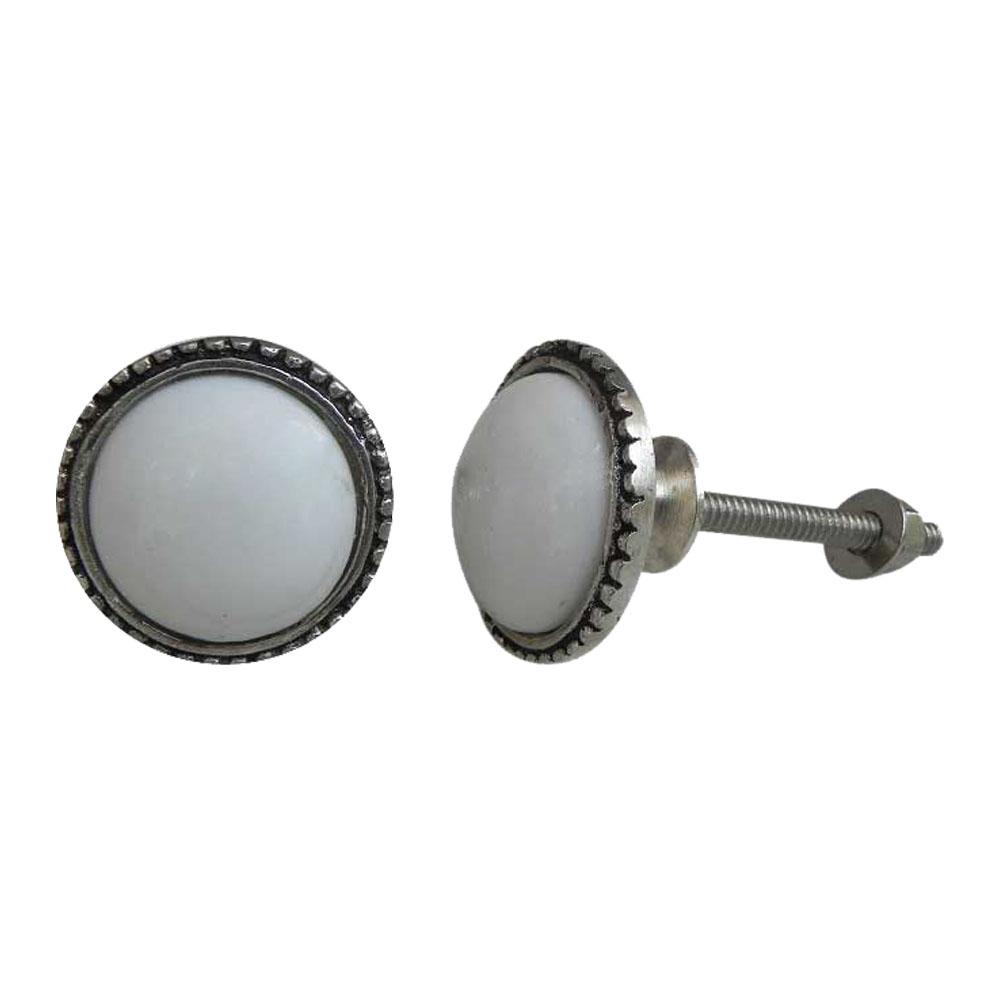 White Glass Metal Knobs