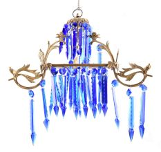 Blue Glass and Crystal Chandelier.