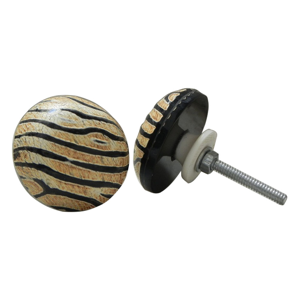 Zebra Round Horn Knob