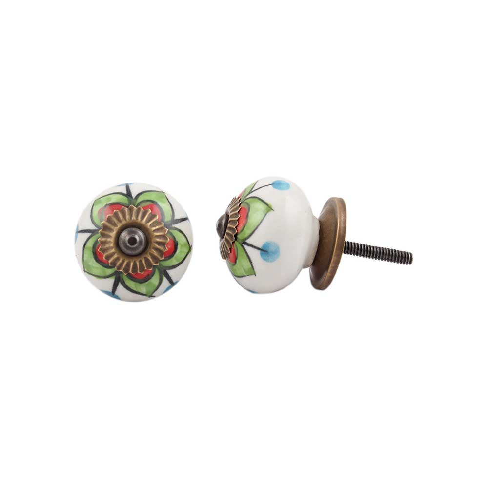 Green Clove Flower Ceramic Dresser Knob Online