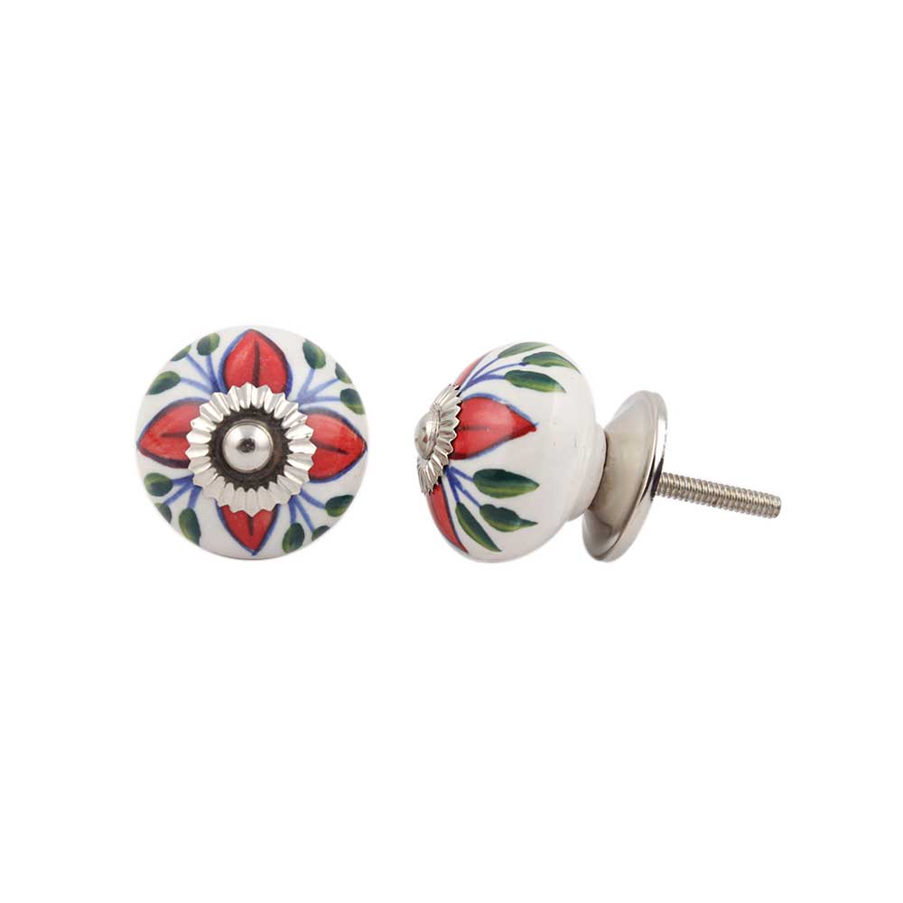 Green Leaf Flower Ceramic Knob Online